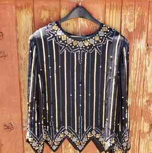 Vintage 80's 100% silk beaded blouse